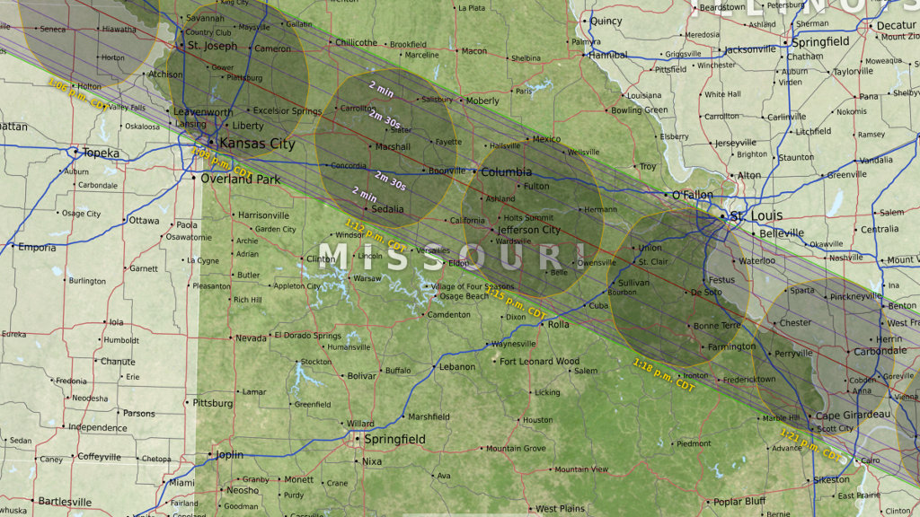 Graphic of eclipse path in Missouri
