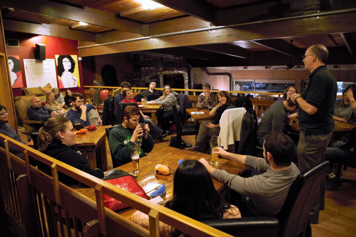 Dr. Dave Westenberg speaks during a Research on Tap social hour at Public House Brewing Co. last semester.
