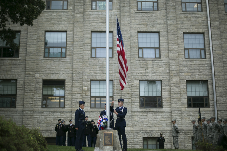 9-11 ceremony with Army and Air Force ROTC at S&T