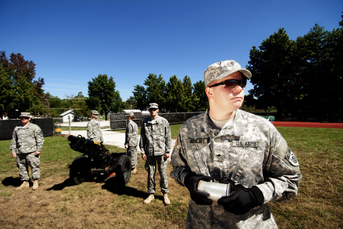 ROTC students undergoing a training exercise
