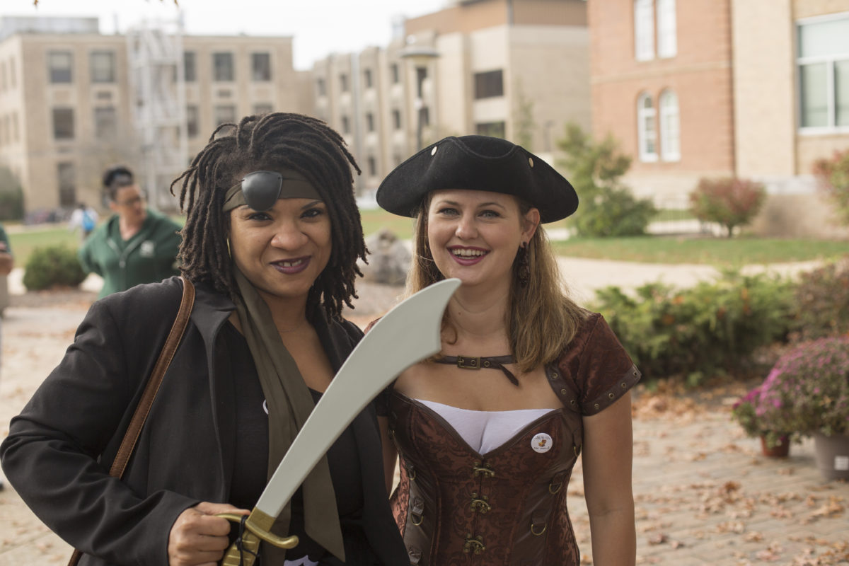 Two employees dressed as pirates at Staff Day 2016