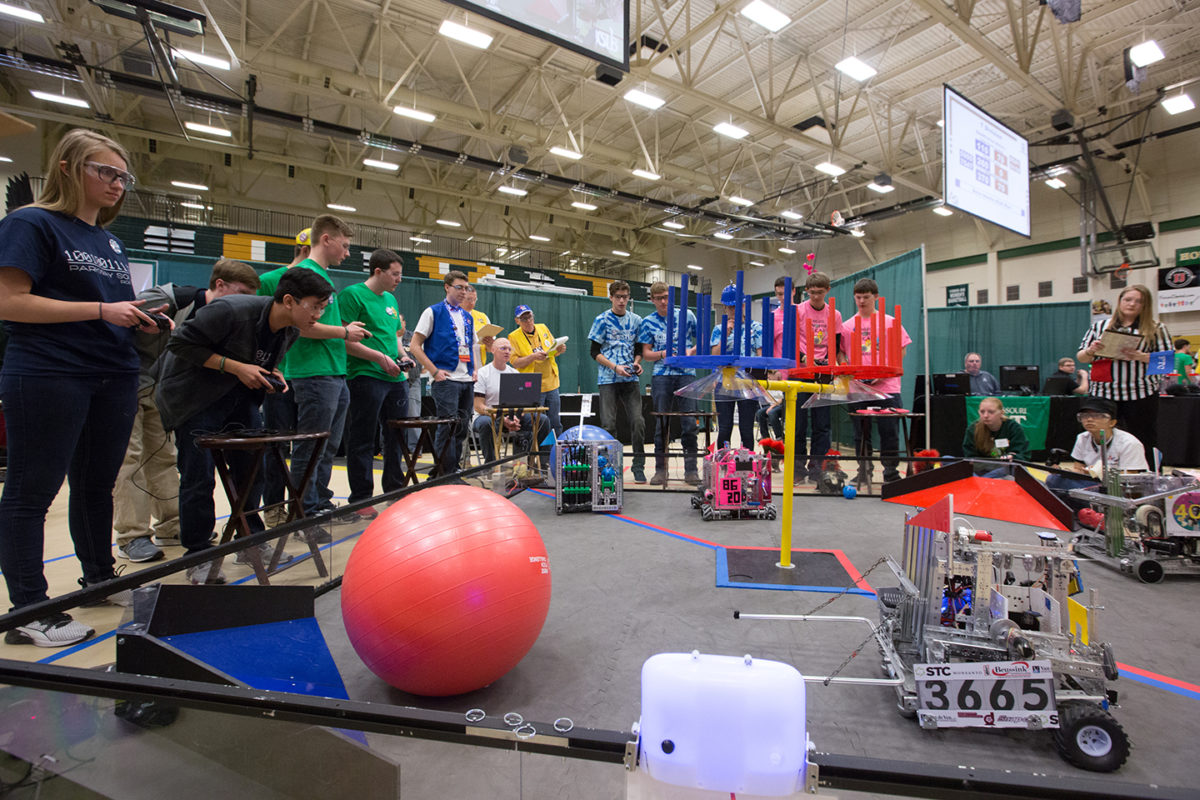 Student teams compete with their robots against each other in competition at the FIRST Tech Challenge on Missouri S&T's campus in 2017.