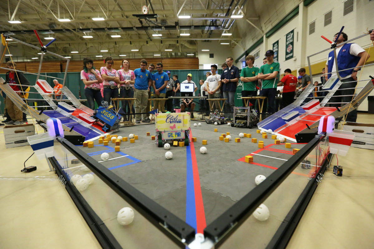 High School students compute with their robots in the FRIST Tech Challenge state championship in the Gale Bullmann Multi-Purpose building on March 5, 2016.