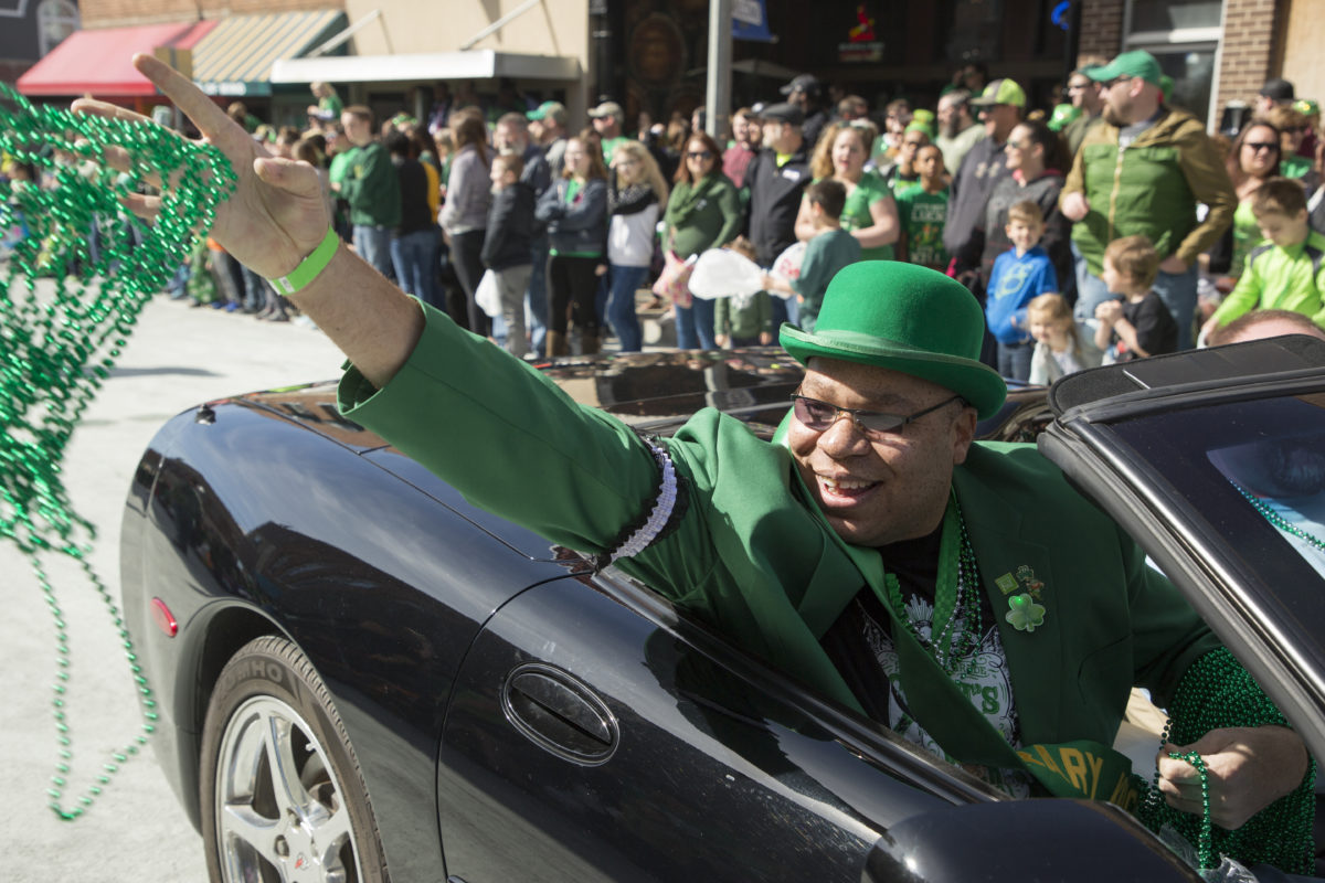 Honorary Knight Lt. Oscar Kemp throws beads at the St. Pat's parade in downtown Rolla on March 18, 2017.