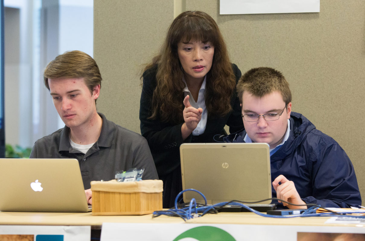 Dr. Bih-ru Lea with two students at ERP simulation in 2017