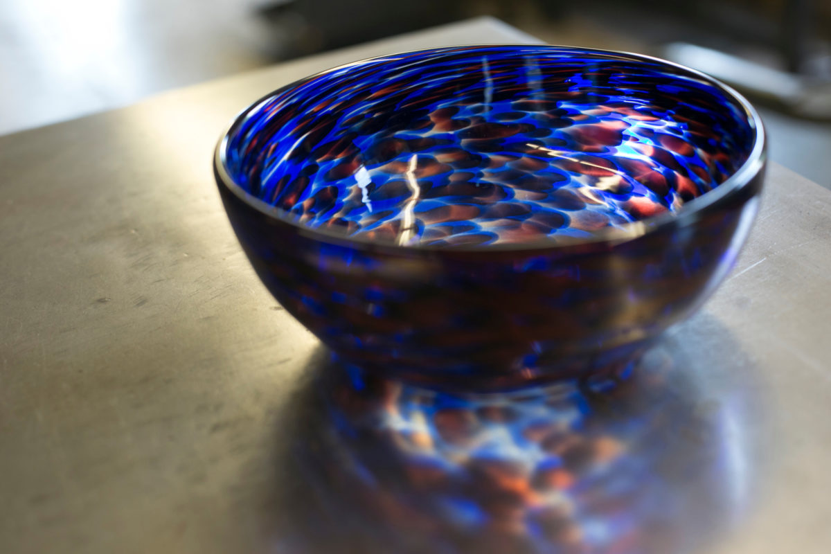 Beautiful glass bowl made by students