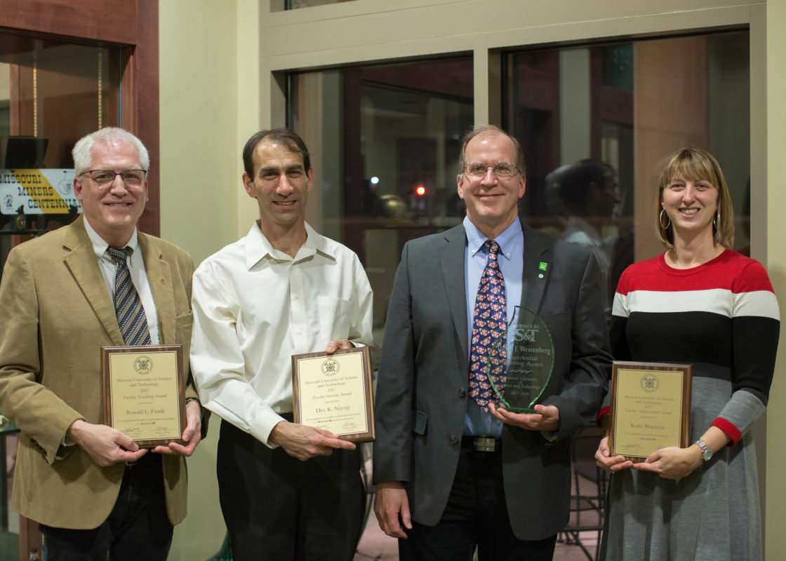 Among the faculty award recipients honored Feb. 13 are, from left, Dr. Ronald Frank, Dr. Dev Niyogi, Dr. David Westenberg and Dr. Katie Shannon.