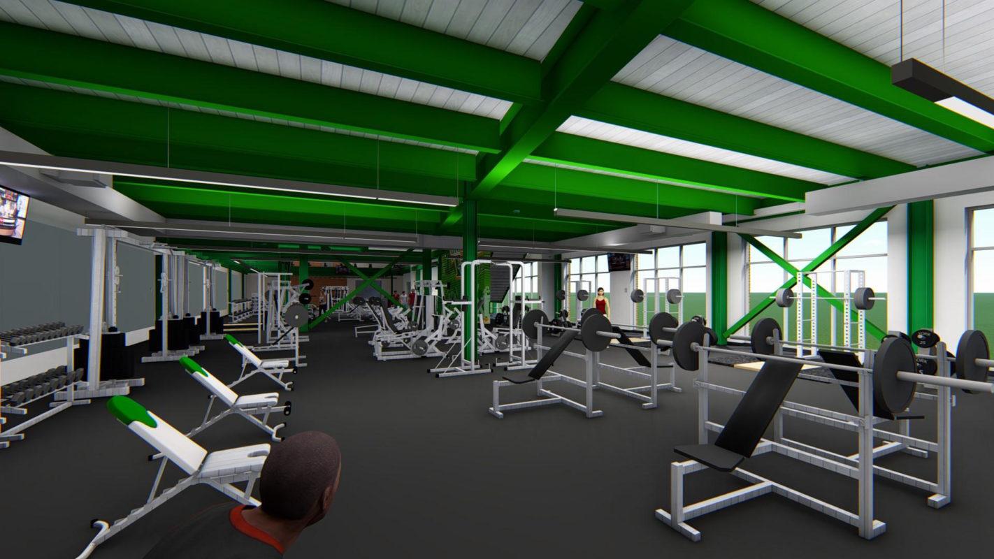 Artist rendering of weightlifting room