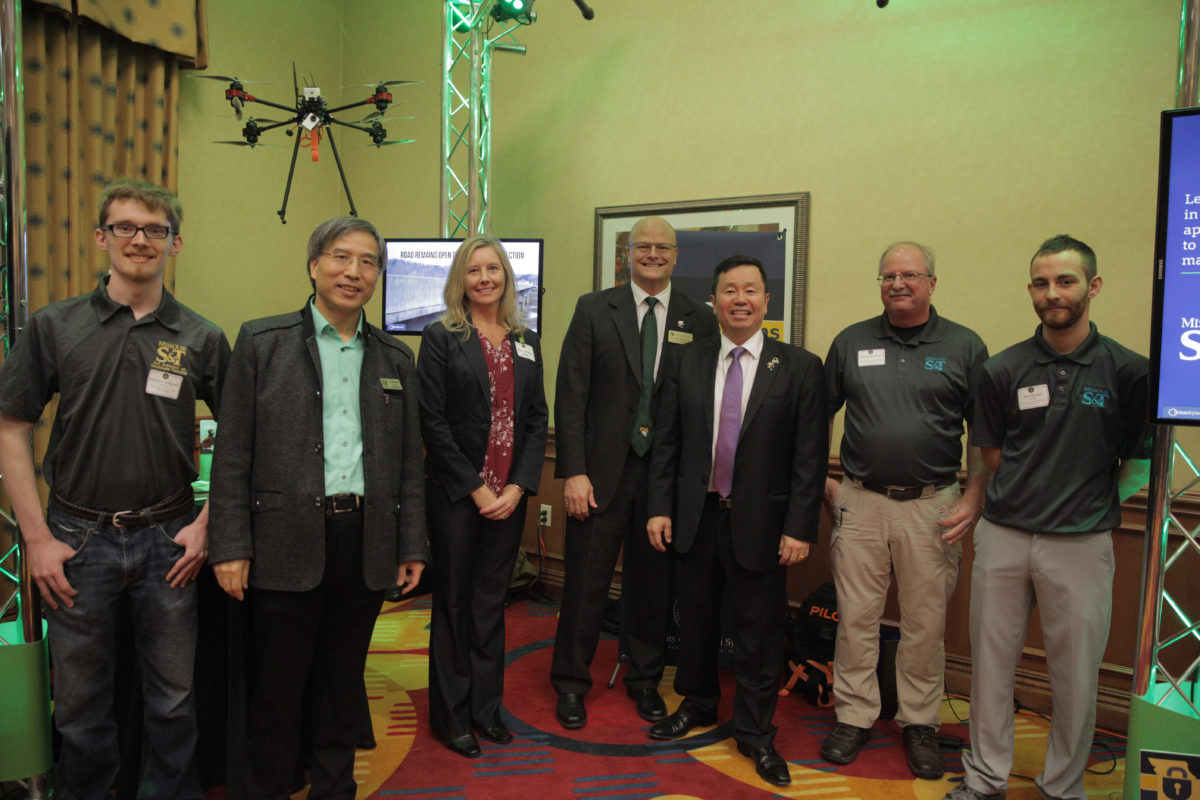 Missouri S&T representatives pose with University of Missouri System President Mun Choi during the legislative showcase Feb. 28 in Jefferson City. From left: Matthew Klegseth, graduate student; Dr. Genda Chen, the Robert W. Abbett Distinguished Chair in Civil Engineering and director of INSPIRE University Transportation Center; Amy Gillman, program coordinator for the Center for Infrastructure Engineering; Dr. Joel Burken, chair and Curators' Distinguished Professor of civil, architectural and environmental engineering; UM System President Mun Choi; Mark Bookout, director of research support services, and Alec Reven, system administrator for information technology.