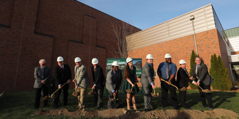 Digging in – students break ground for fitness center expansion