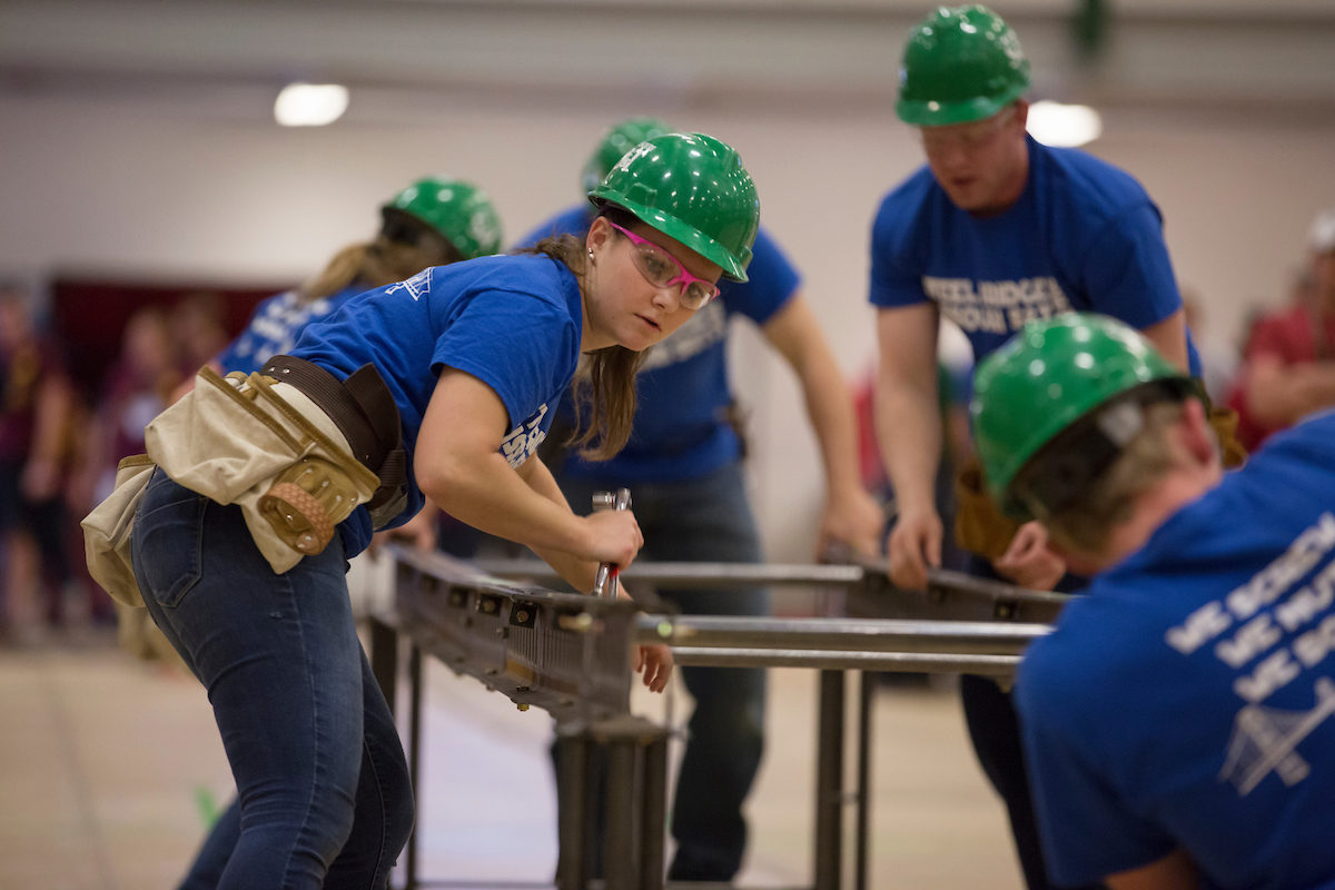 The Missouri S&T Steel Bridge Design Team competes in the Gale Bullman Multi-Purpose Building on Thursday April 21, 2016.