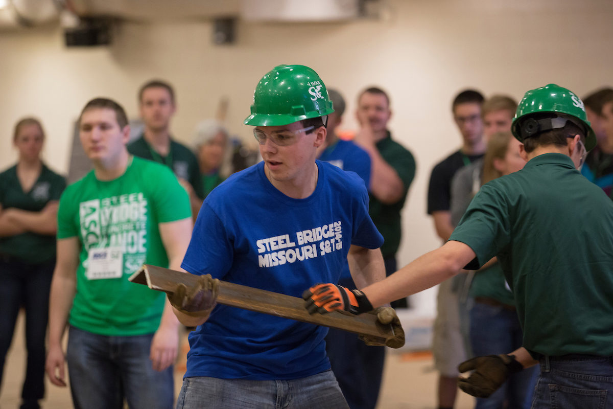 The Missouri S&T Steel Bridge Design Team, shown here during competition in 2016, earned first place in a regional competition April 19-21, 2018, and will compete at the national competition in May. Sam O'Keefe/Missouri