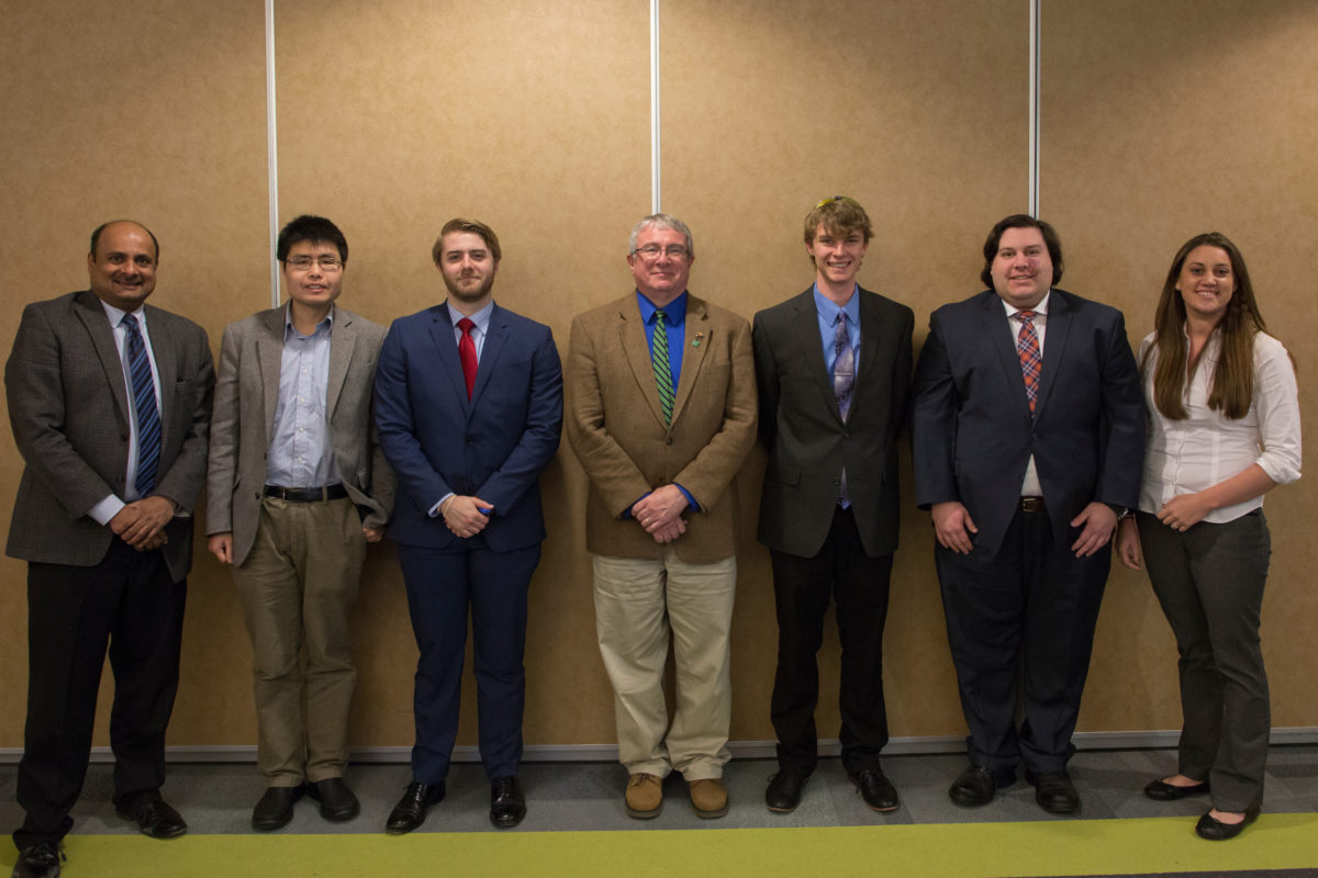 Winners of S&T's Graduate Fellows Poster Session were honored at a banquet March 21. From left: Dr. Venkata Allada, Dr. Lian Duan, Andrew Taylor, Interim Chancellor Christopher Maples, Jaykob Maser, James Seman and Dr. Catherine Johnson.
