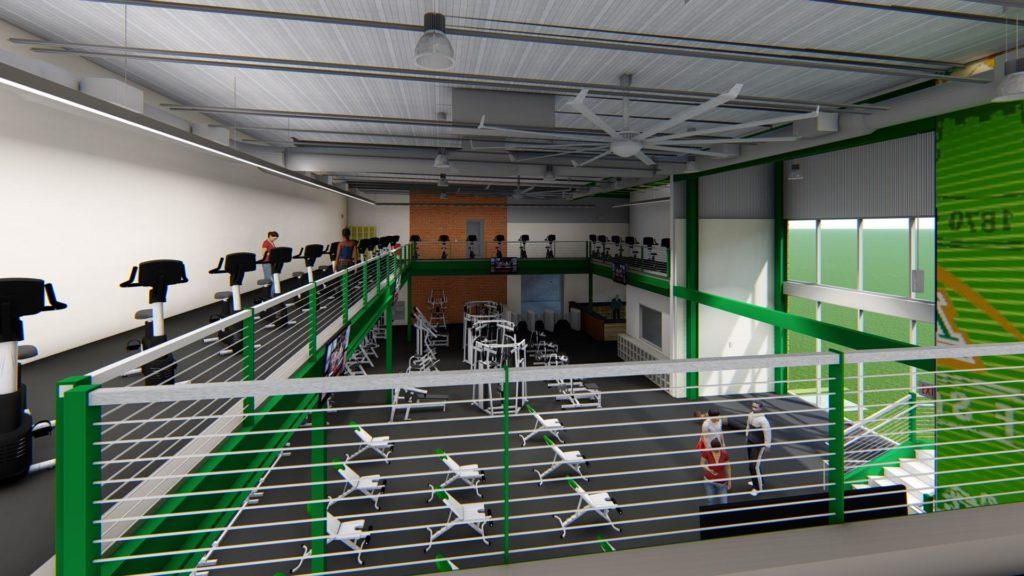 Artist rendering: Additional cardio equipment will be added on the mezzanine level in the expanded student fitness center.