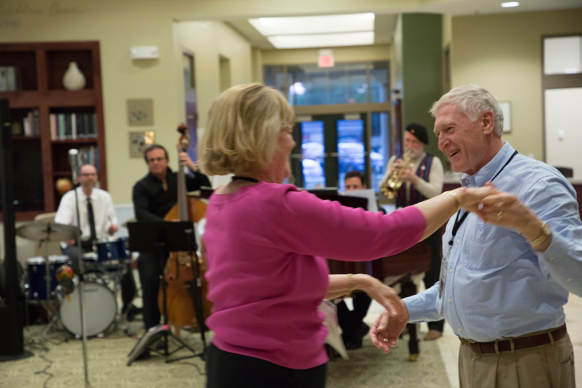 A couple dances at the 1967 graduating class Golden Alumni Reunion, held May 16, 2017, celebrating 50 years at the Hasselmann Alumni House.