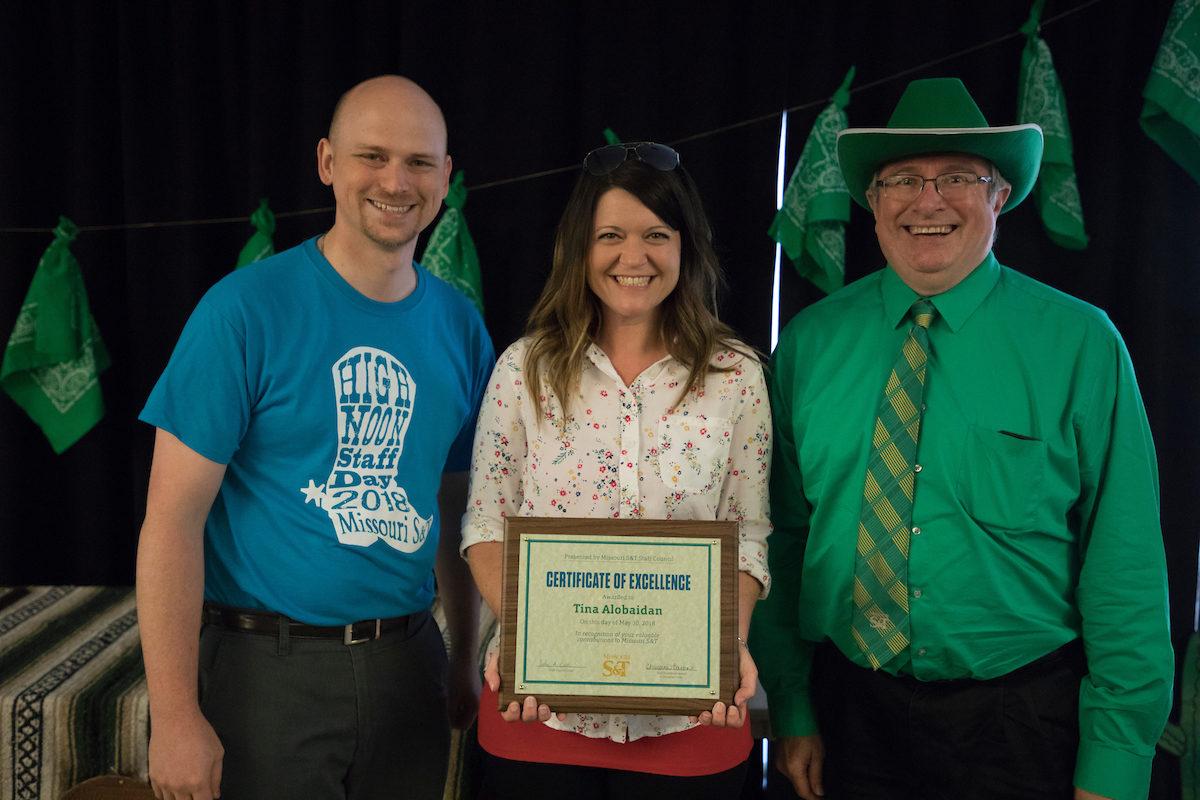 Awardee Tina Alobaidan with John Cook and Chris Maples