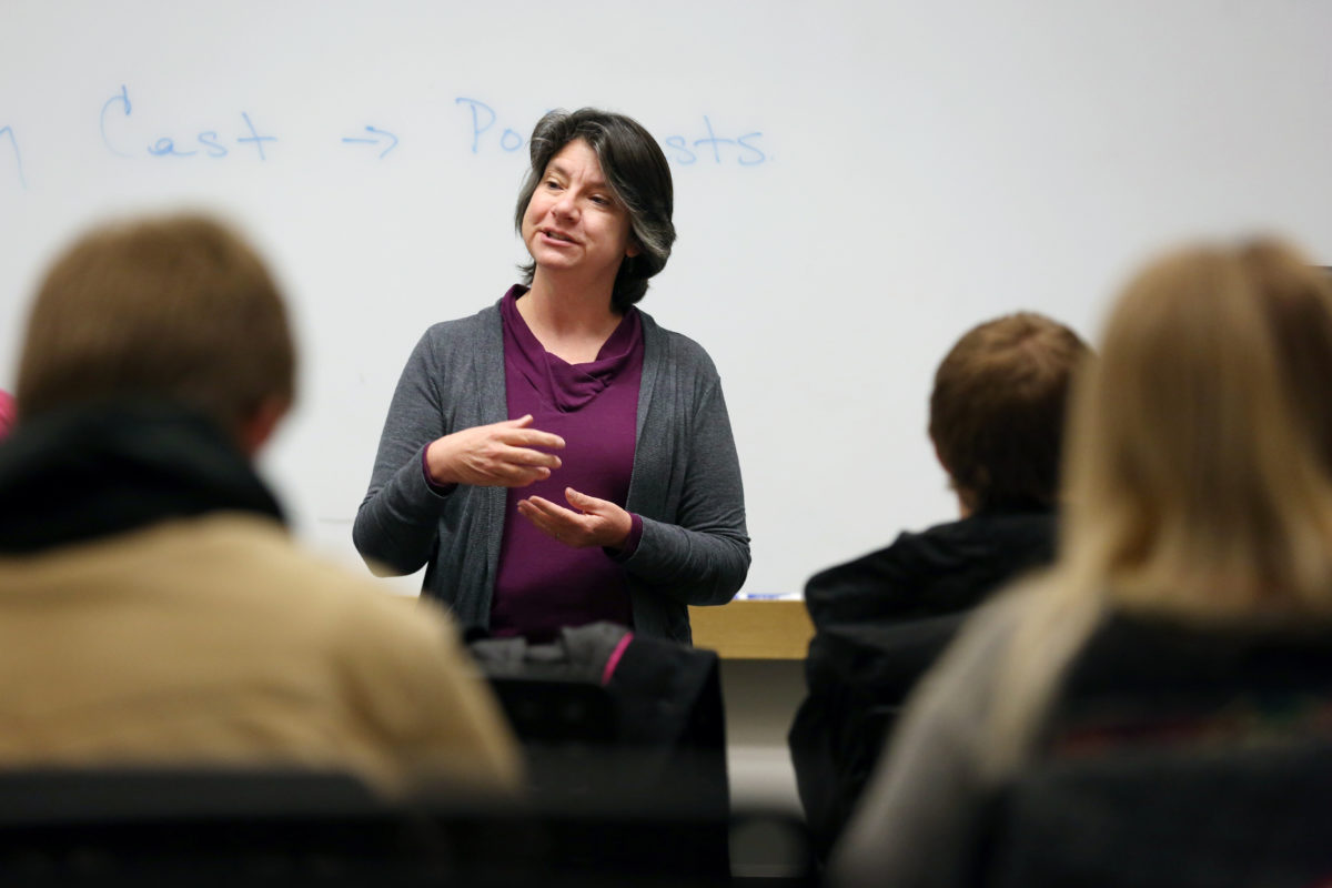 Melanie Mormile teaches in Bertelsmeyer Hall.