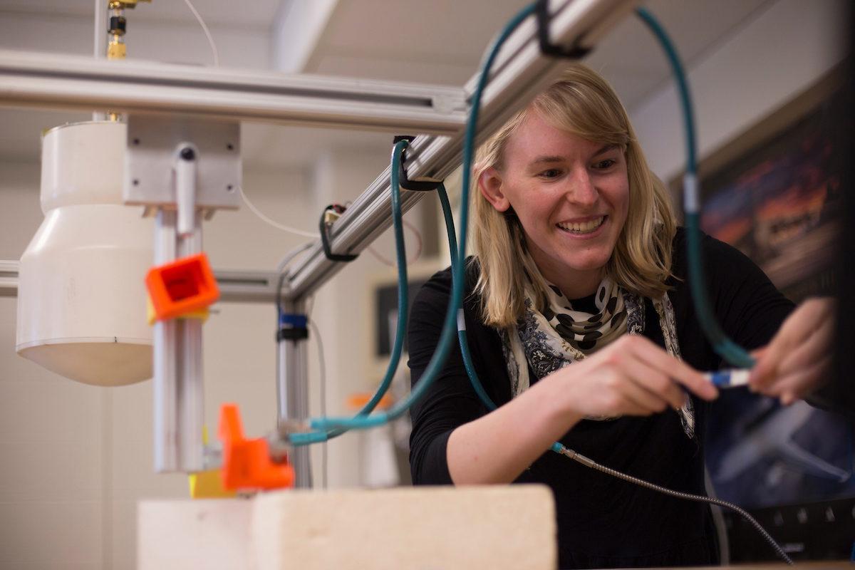 Student Katie Brinker in lab