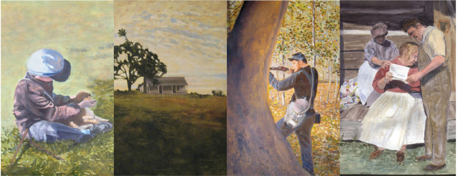 Four pictures of artwork by Dan Woodward
