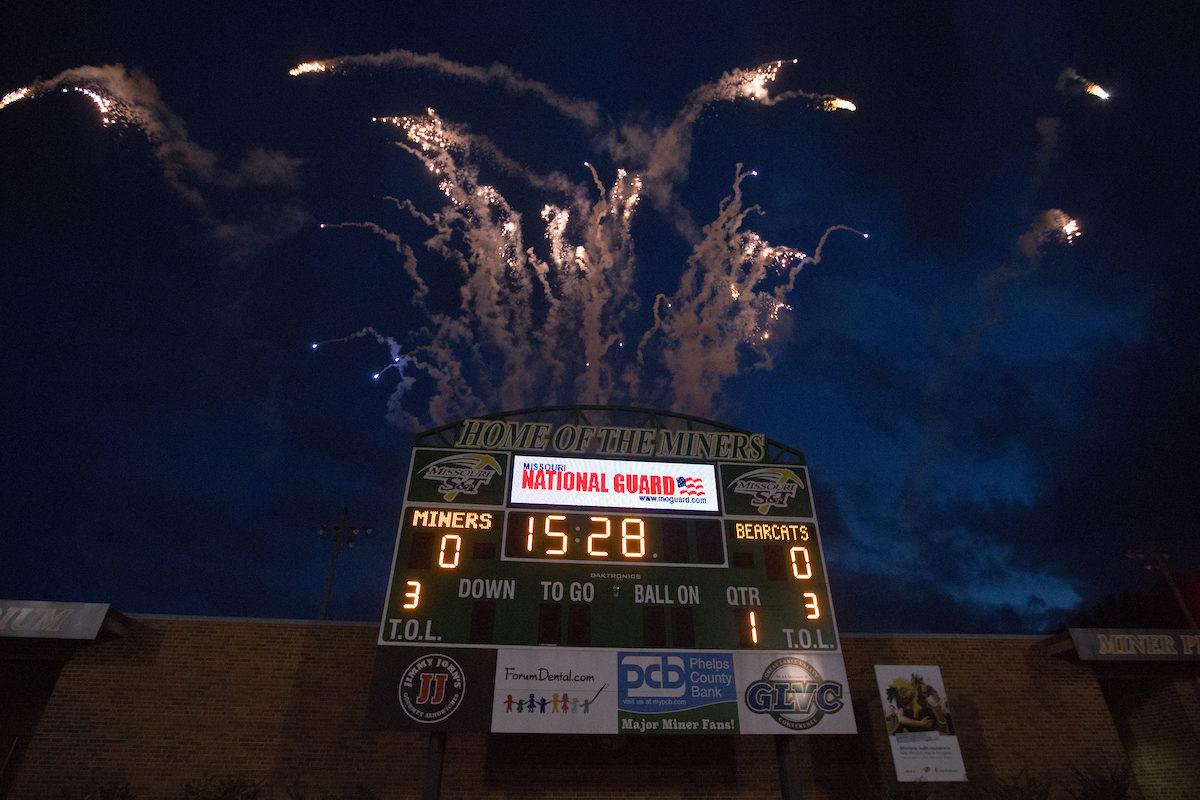Fireworks above scoreboard