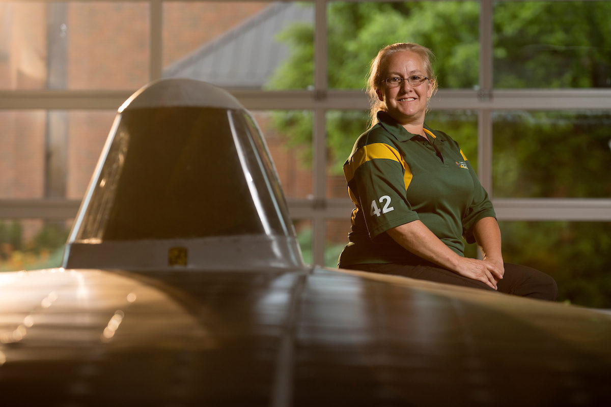 Letha Young with solar car