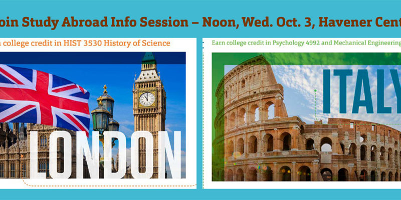 Oct. 3 study abroad info. sessions set for England, Italy summer courses