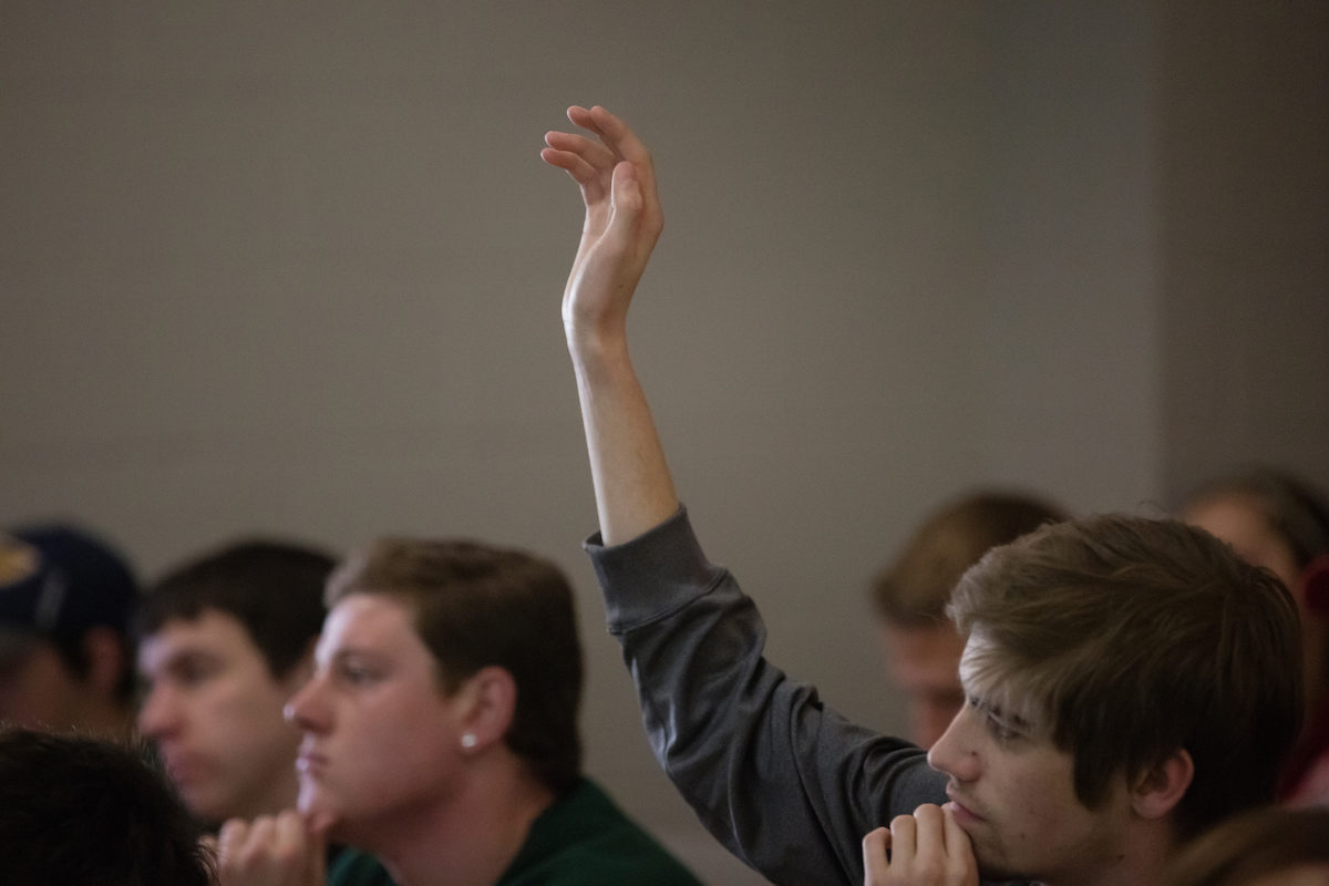 Student raises hand in class