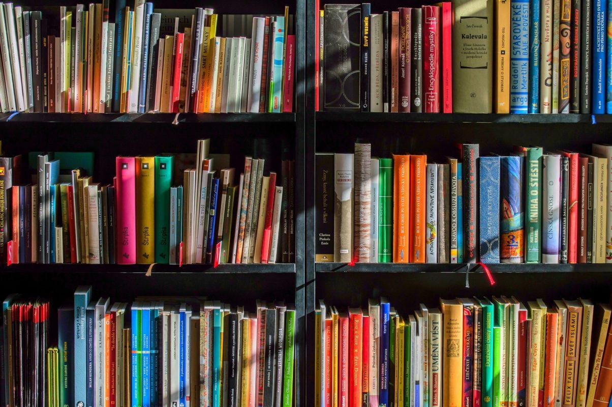 Three shelves full of books