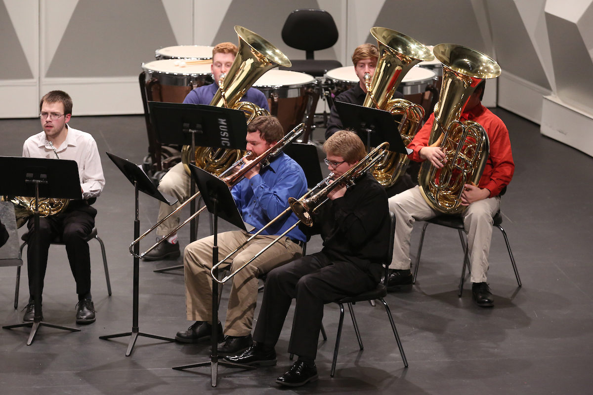 Students playing jazz instruments