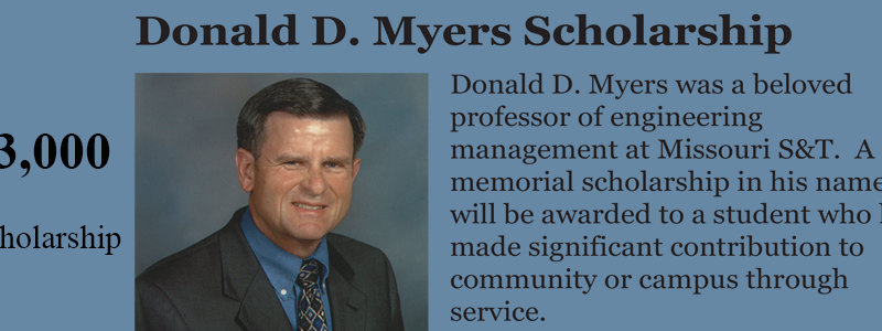 Apply now for Donald D Myers scholarship