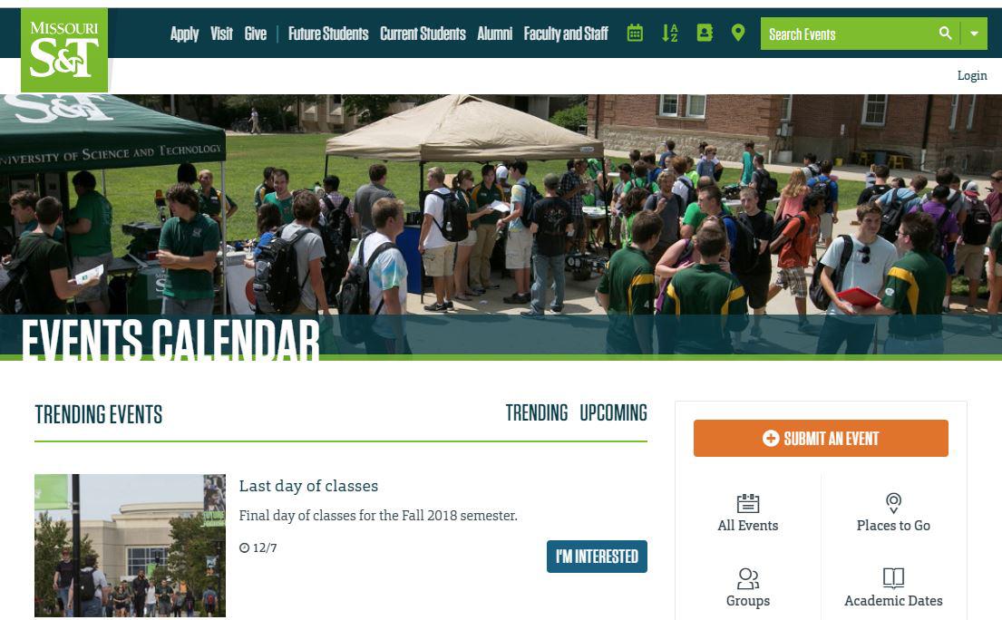 screenshot of online calendar