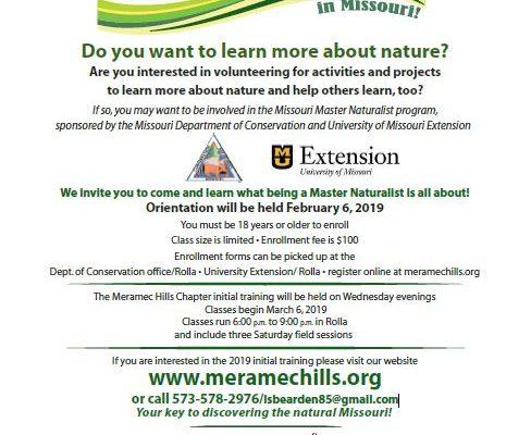 Missouri Master Naturalist Core Training Orientation