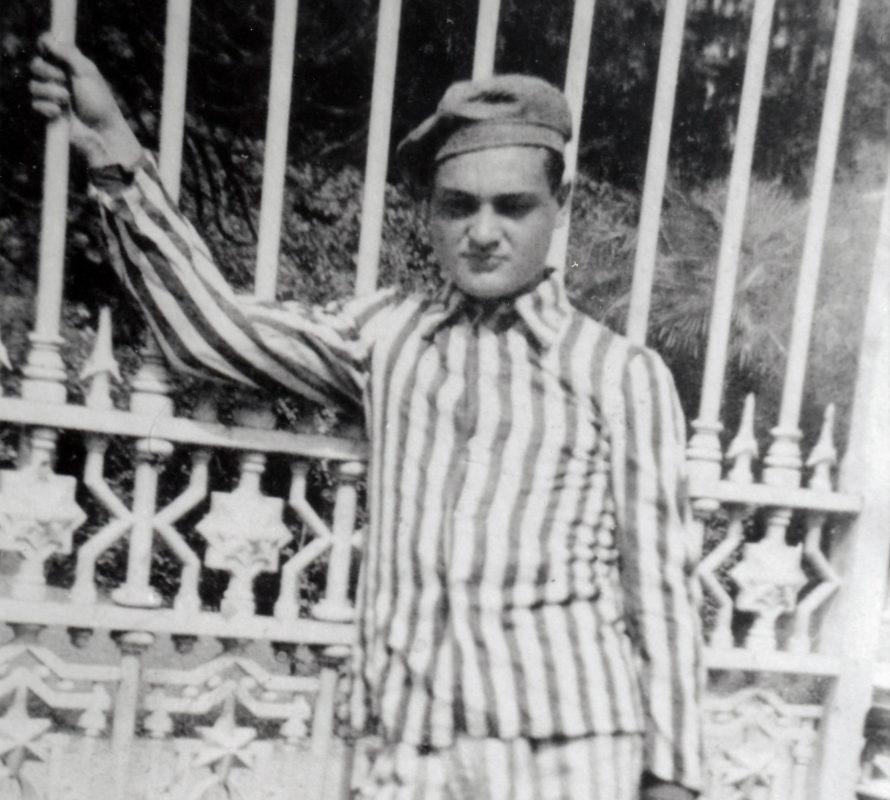 Arthur Bornstein in Auschwitz camp uniform