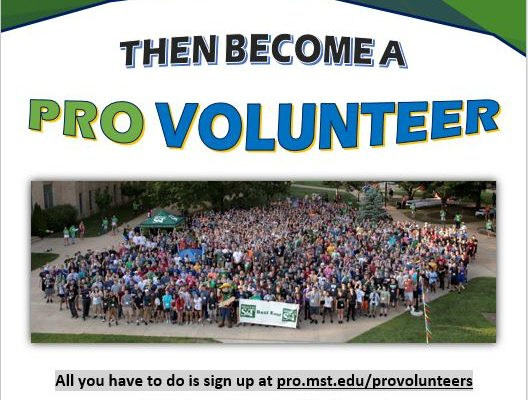 Volunteer to help incoming freshman on their PRO Day