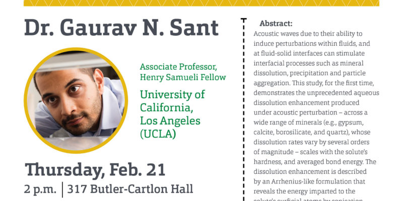 CIES seminar: Isothermal stimulation of mineral dissolution processes by acoustic perturbation