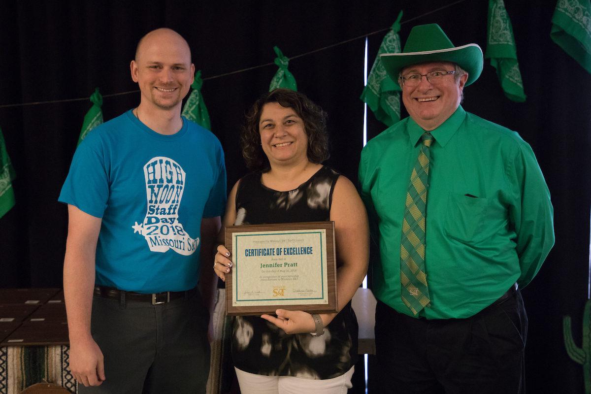 Jennifer Pratt with award