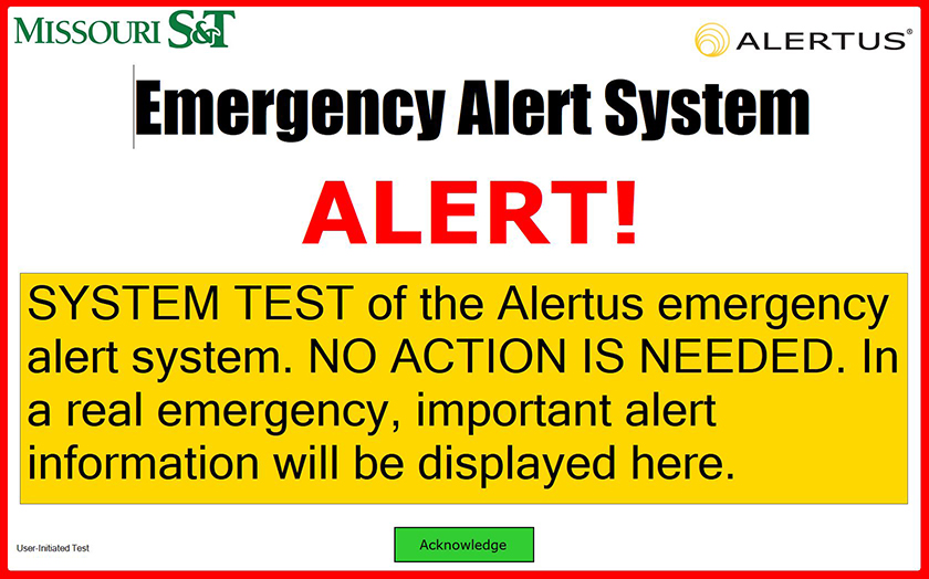 Screenshot of alert