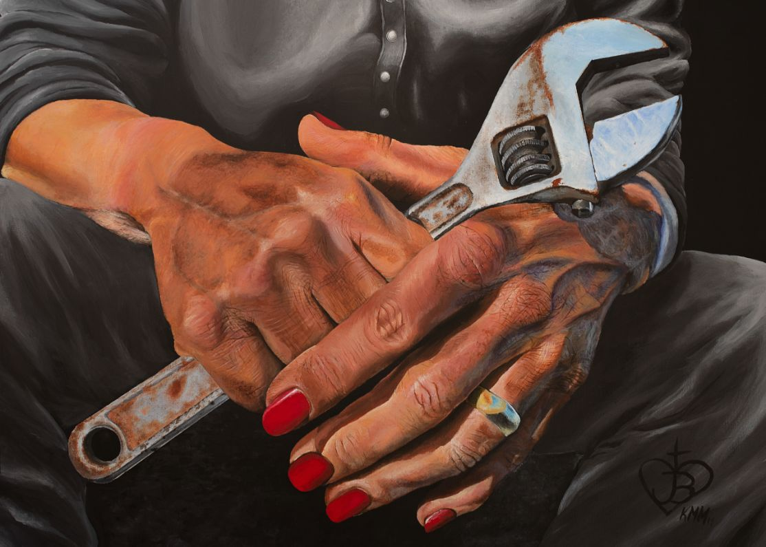 Painting of mechanic's hands