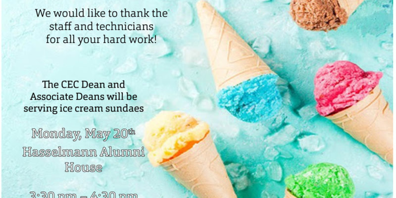 CEC hosts ice cream social for staff on May 20