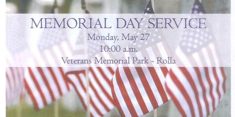 Memorial Day Service set for May 27