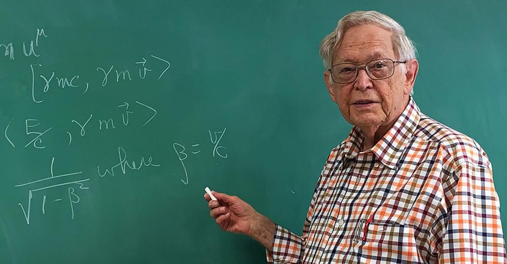 Jerry Peacher at chalkboard
