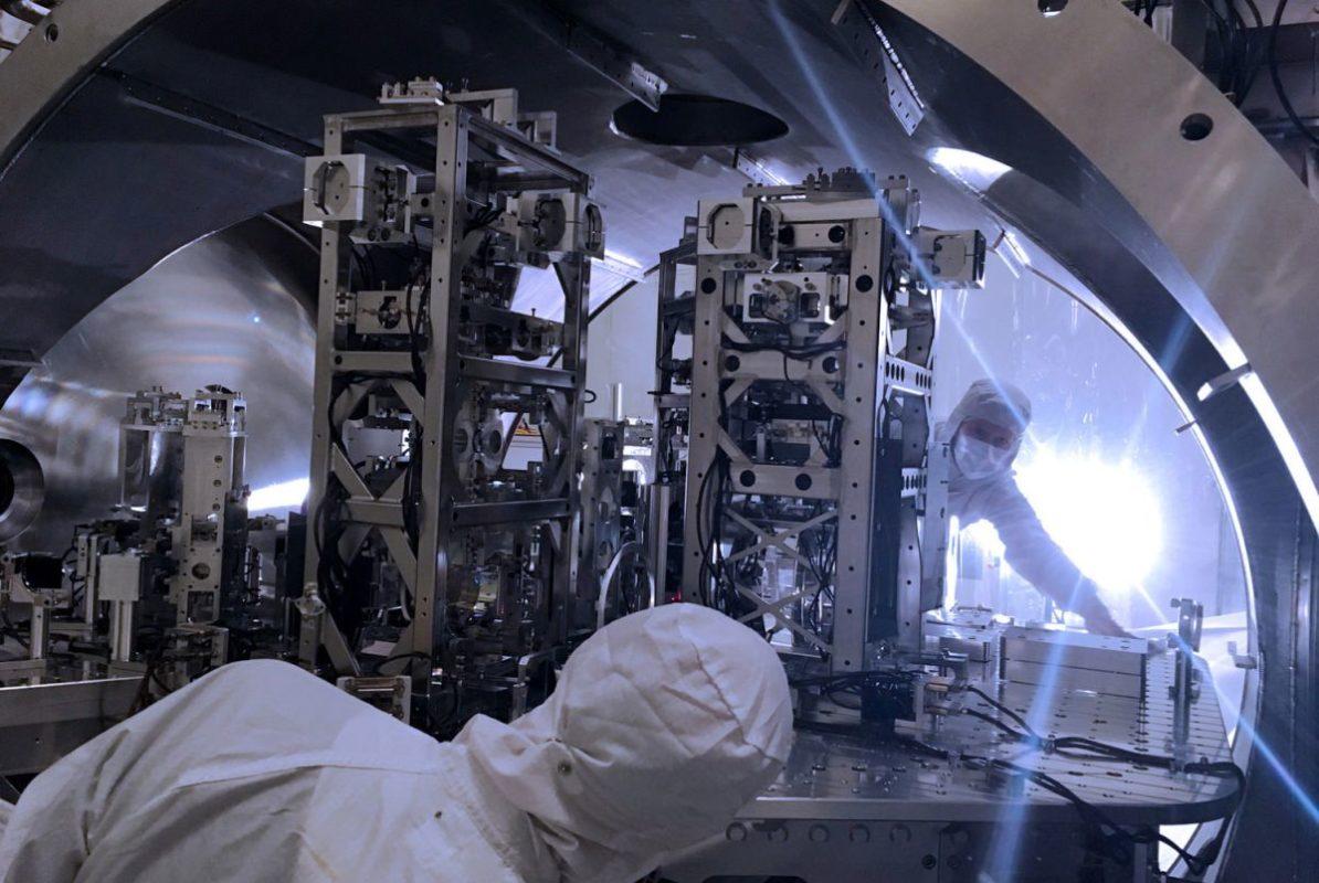 engineers in LIGO room