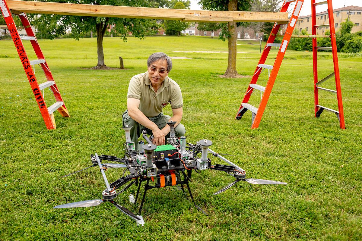 Genda Chen with drone