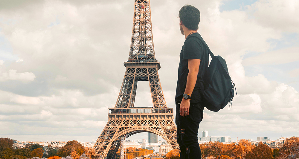 Student and Eiffel Tower