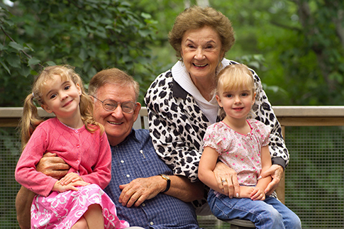 Grandparents with two granddaughters