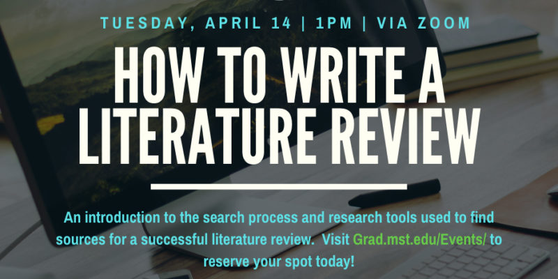 Webinar on literature review writing set for April 14