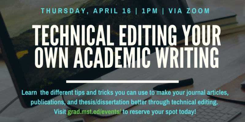 Learn how to technically edit your academic writing on April 16