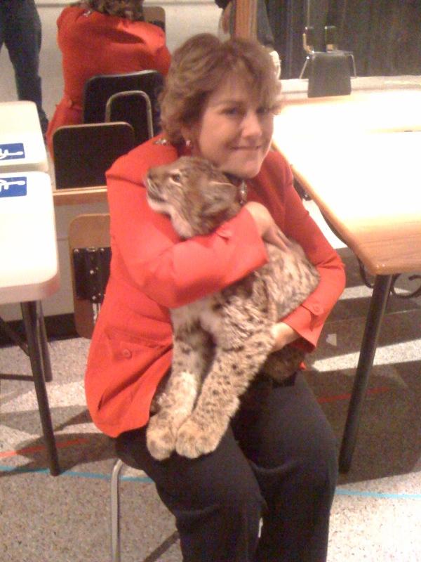 Emily Brickler with lynx