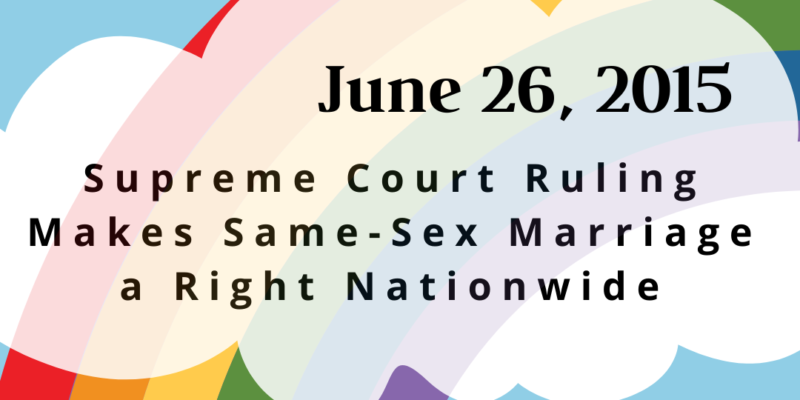 June 26: Anniversary of Same-Sex Marriage Being Recognized Nationwide