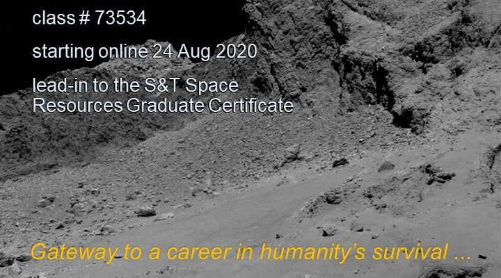 Are you interested in space and its resources? There is a new course offered online this fall semester that could be for you!